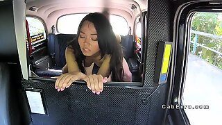 Muscled taxi driver bangs asian babe